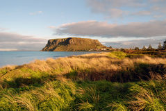 Stanley, Tasmania. The historic village of Stanley in north-west Tasmania is nestled at the base of a sheer-sided bluff called 'The Nut'. It is the remnant of an Stock Image