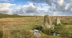 Stannon Stone Circle on Bodmin Moor in Cornwall Stock Images