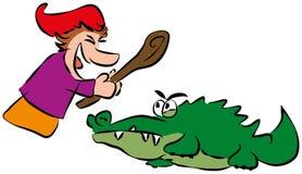 Stansmaskin och krokodil Arkivfoton