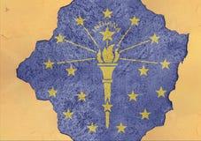stanu USA Indiana flaga w duży beton pękającej dziurze i łamającej ścianie fotografia stock