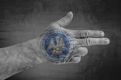 stanu USA Luizjana foki flaga malował na męskiej ręce jak pistolet ilustracji