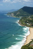 Stanwell Tops looking south. The coastline looking south from towards woolongong nsw austalia.From the cliff tops at stanwell tops district. The sea bridge road Royalty Free Stock Photo