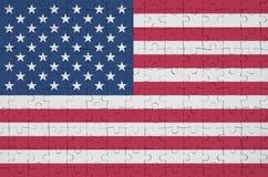 Stany Zjednoczone Ameryka flaga przedstawia na fałdowej łamigłówce ilustracji