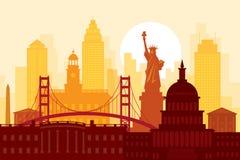 Stany Zjednoczone Ameryka, usa, punkty zwrotni, Miastowy linia horyzontu royalty ilustracja