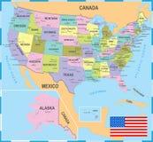 Stany Zjednoczone Barwił mapę - Wektorowa ilustracja Zdjęcia Royalty Free