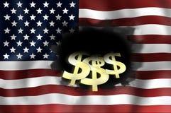 Stany Zjednoczone chorągwiana ciemna czarna dziura Obrazy Royalty Free
