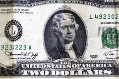 Stany Zjednoczone Dwa Dolarowy Bill szczegółu Jefferson portret fotografia stock