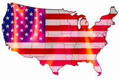 Stany Zjednoczone flaga jako map narzut ogień inside royalty ilustracja