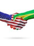 Stany Zjednoczone Guyana i flaga pojęcia współpraca, biznes, sport rywalizacja ilustracji