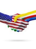Stany Zjednoczone i Comoros flaga pojęcia współpraca, biznes, sport rywalizacja royalty ilustracja