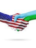 Stany Zjednoczone i Djibouti flaga pojęcia współpraca, biznes, sport rywalizacja royalty ilustracja
