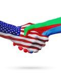 Stany Zjednoczone i Erytrea flaga pojęcia współpraca, biznes, sport rywalizacja ilustracji