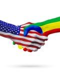 Stany Zjednoczone i Etiopia flaga pojęcia współpraca, biznes, sport rywalizacja ilustracji