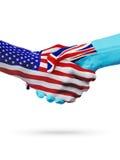 Stany Zjednoczone i Fiji flaga pojęcia współpraca, biznes, sport rywalizacja royalty ilustracja