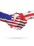 Stany Zjednoczone i Gruzja flaga pojęcia współpraca, biznes, sport rywalizacja royalty ilustracja