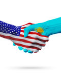Stany Zjednoczone i Kazachstan flaga pojęcia współpraca, biznes, sport rywalizacja ilustracja wektor
