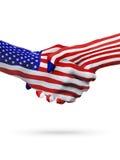 Stany Zjednoczone i Liberia flaga pojęcia współpraca, biznes, sport rywalizacja royalty ilustracja