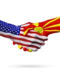 Stany Zjednoczone i Macedonia flaga pojęcia współpraca, biznes, sport rywalizacja ilustracji