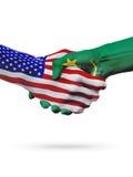 Stany Zjednoczone i Mauretania flaga pojęcia współpraca, biznes, sport rywalizacja royalty ilustracja