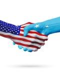 Stany Zjednoczone i Micronesia flaga pojęcia współpraca, biznes, sport rywalizacja ilustracja wektor