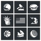 Stany Zjednoczone ikony również zwrócić corel ilustracji wektora ilustracji