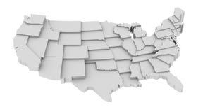 Stany Zjednoczone mapa stanami w różnorodnych wysokich poziomach. Zdjęcie Stock
