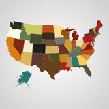 Stany Zjednoczone mapa z oddzielonymi stanami również zwrócić corel ilustracji wektora royalty ilustracja