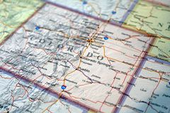 Stany Zjednoczone mapa zamknięta w górę Kolorado obraz royalty free