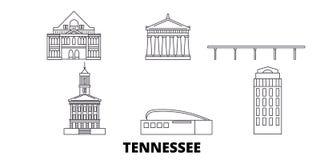 Stany Zjednoczone, Nashville linii podróży linia horyzontu set Stany Zjednoczone, Nashville konturu miasta wektorowa ilustracja,  ilustracja wektor