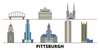 Stany Zjednoczone, Pittsburgh punktów zwrotnych wektoru płaska ilustracja Stany Zjednoczone, Pittsburgh kreskowy miasto z sławną  royalty ilustracja