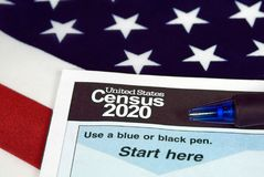 Stany Zjednoczone spisu ludności 2020 forma Obraz Royalty Free