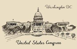 Stany Zjednoczone wzgórza Capitol Kapitałowy washington dc ilustracja wektor