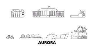 Stany Zjednoczone, zorzy linii podróży linia horyzontu set Stany Zjednoczone, zorza konturu miasta wektorowa ilustracja, symbol,  ilustracja wektor