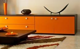 Stanza arancione del salotto Fotografia Stock Libera da Diritti