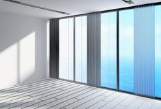 Stanza architettonica bianca vuota con Windows di vetro Immagine Stock