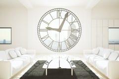 Stanza bianca con la finestra dell'orologio illustrazione di stock