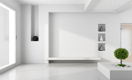 Stanza bianca minimalista Fotografia Stock