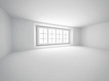 Stanza bianca vuota astratta con la finestra Fotografia Stock