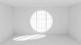 Stanza bianca vuota con la grande finestra rotonda Fotografia Stock