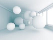 Stanza bianca vuota con molte sfere Fotografia Stock