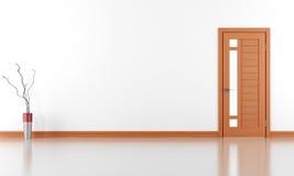 Stanza bianca vuota con a porta chiusa Fotografia Stock Libera da Diritti