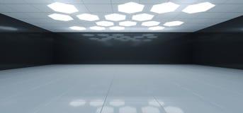 Stanza in bianco e nero interna futuristica con l'esagono Whi a forma di royalty illustrazione gratis