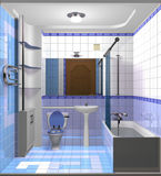 Stanza blu-chiaro del bagno Immagini Stock