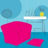 Stanza blu con la sedia rosa Immagine Stock