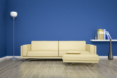 Stanza blu con un sofà Immagine Stock