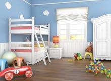 Stanza blu dei children´s con i giocattoli Fotografia Stock Libera da Diritti
