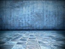 Stanza blu Grungy Fotografia Stock