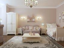 Stanza camera da letto-vivente di rinascita Immagine Stock Libera da Diritti