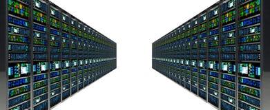 Stanza in centro dati, stanza del server fornita di server di dati Immagine Stock