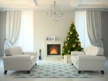 Stanza classica di stile con l'albero di Natale e del camino Immagini Stock